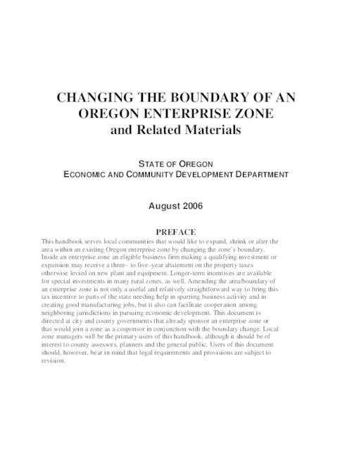 "This archived document is maintained by the Oregon State Library as part of the Oregon Documents Depository Program.  It is for informational purposes and may not be suitable for legal purposes., Title from PDF caption (viewed on December 27, 2007), ""August 2006."", Mode of access: Internet from the Oregon Government Publications Collection."