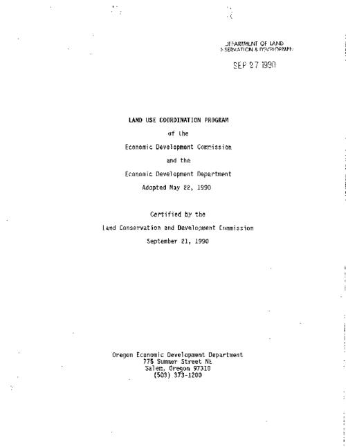 "This archived document is maintained by the Oregon State Library as part of the Oregon Documents Depository Program.  It is for informational purposes and may not be suitable for legal purposes., ""Adopted May 22, 1990. Certified by the Land Conservation and Development Commission September 21, 1990."", Title from PDF caption (viewed on Jan. 10, 2011), Mode of access: Internet from the Oregon Government Publications Collection."
