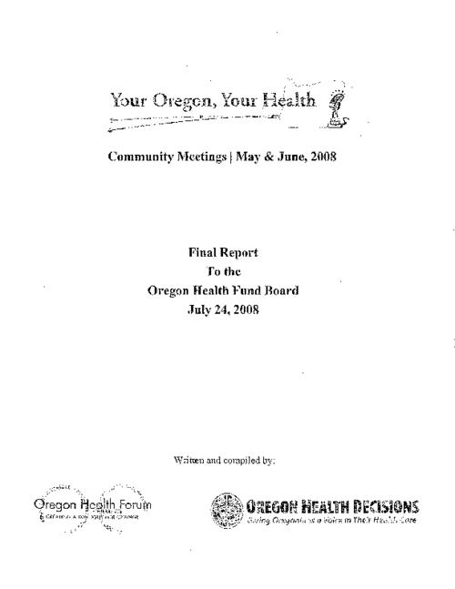 "This archived document is maintained by the Oregon State Library as part of the Oregon Documents Depository Program.  It is for informational purposes and may not be suitable for legal purposes., Title from PDF title page (viewed on June 15, 2011), ""July 24, 2008."", Mode of access: Internet from the Oregon Government Publications Collection."