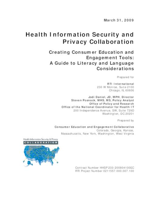 "This archived document is maintained by the Oregon State Library as part of the Oregon Documents Depository Program.  It is for informational purposes and may not be suitable for legal purposes., Title from PDF title page (viewed on Nov. 3, 2009), At head of title: Health Information Security and Privacy Collaboration, ""Prepared by Consumer Education and Engagement Collaborative, Colorado, Georgia, Kansas, Massachusetts, New York, Washington, West Virginia""--Cover, The Oregon Office for Oregon Health Policy and Research is part of the Health Information Security and Privacy Collaboration, ""March 31, 2009."", Includes bibliographical references, HHSP 233-200804100EC 0211557.000.007.100, Mode of access: Internet from the Oregon Government Publications Collection."