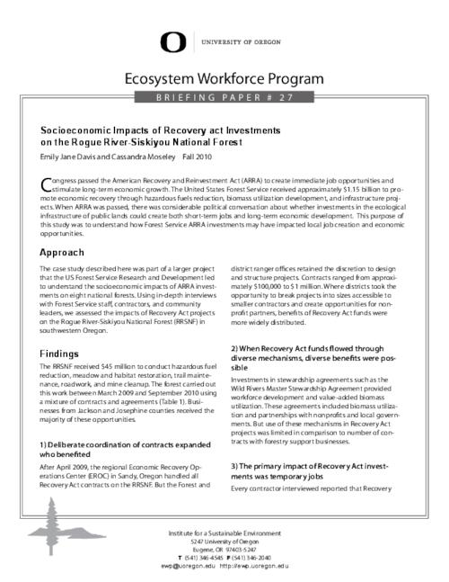 This archived document is maintained by the Oregon State Library as part of the Oregon Documents Depository Program.  It is for informational purposes and may not be suitable for legal purposes., Title from PDF caption (viewed on September 19, 2014), Discusses the impact that American Recovery and Reinvestment Act spending in the Rogue River-Siskiyou National Forest had on the local economy, This report was made possible by funding from the US Forest Service Pacific Northwest Research Station, Mode of access: Internet from the Oregon Government Publications Collection., Text in English