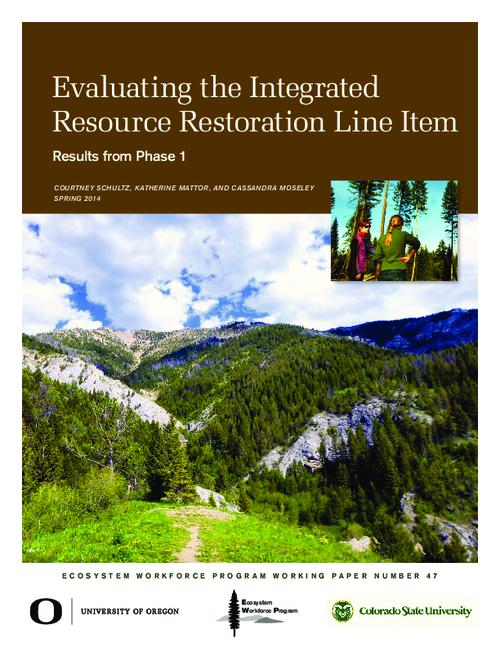 This archived document is maintained by the Oregon State Library as part of the Oregon Documents Depository Program.  It is for informational purposes and may not be suitable for legal purposes., Title from PDF cover (viewed on June 23, 2015)., Logos: University of Oregon; Colorado State University., At the request of the U.S. Forest Service (USFS), we are conducting a third-party review of the Integrated Resource Restoration (IRR) budgetary approach, which has been implemented on a pilot basis for three years in USFS Regions 1, 3, and 4. This report summarizes our findings from phase 1, which involved interviews with staff from the pilot regions., Includes bibliographical references (page 20)., Mode of access: Internet from the Oregon Government Publications Collection., Text in English.