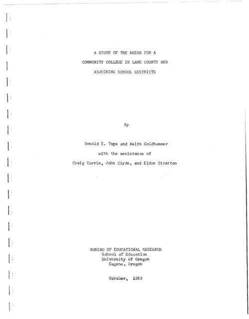 "This archived document is maintained by the Oregon State Library as part of the Oregon Documents Depository Program.  It is for informational purposes and may not be suitable for legal purposes., ""October, 1963."", Mode of access: Internet from the Oregon Government Publications Collection."