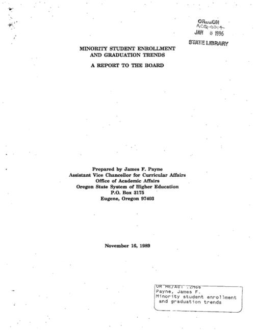 "This archived document is maintained by the Oregon State Library as part of the Oregon Documents Depository Program.  It is for informational purposes and may not be suitable for legal purposes., ""November 16, 1989."", Title from cover, Includes bibliographical reference (p. 24), Mode of access: Internet from the Oregon Government Publications Collection."