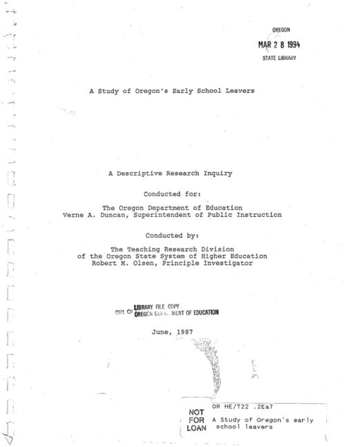 "This archived document is maintained by the Oregon State Library as part of the Oregon Documents Depository Program.  It is for informational purposes and may not be suitable for legal purposes., ""Conducted for: The Oregon Department of Education."", ""June, 1987."", Title from cover, Mode of access: Internet from the Oregon Government Publications Collection."