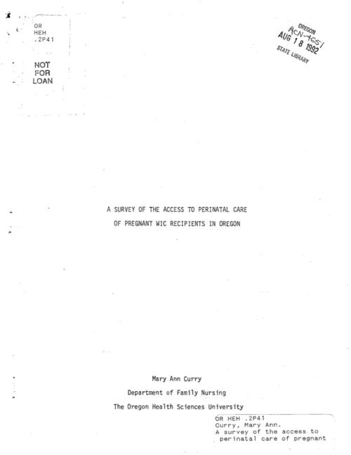 This archived document is maintained by the Oregon State Library as part of the Oregon Documents Depository Program.  It is for informational purposes and may not be suitable for legal purposes., Title from cover, Includes bibliographical references (p. 33-34), Mode of access: Internet from the Oregon Government Publications Collection.