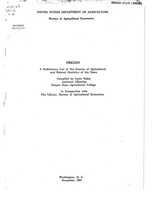 "This archived document is maintained by the Oregon State Library as part of the Oregon Documents Depository Program.  It is for informational purposes and may not be suitable for legal purposes., Title from cover., ""The compilation has been made for the most part from the files of the Oregon state agricultural college library."", Mode of access: Internet from the Oregon Government Publications Collection."