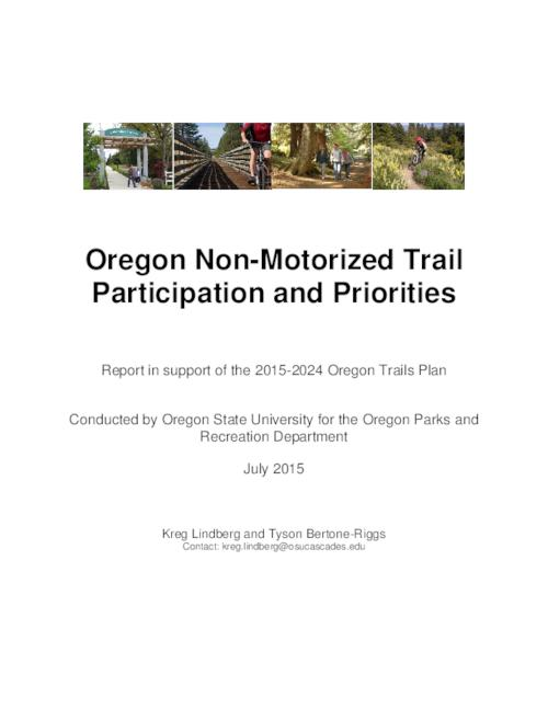 This archived document is maintained by the Oregon State Library as part of the Oregon Documents Depository Program.  It is for informational purposes and may not be suitable for legal purposes., Title from PDF cover (viewed on November 16, 2015)., Survey of non-motorized trail users on current use patterns (amount, location, and type of use), user experiences and preferences, and the economic contribution of the recreation activity., Includes bibliographical references., Mode of access: Internet from the Oregon Government Publications Collection., Text in English.