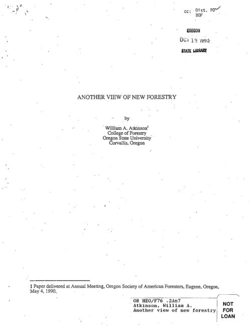 "This archived document is maintained by the Oregon State Library as part of the Oregon Documents Depository Program.  It is for informational purposes and may not be suitable for legal purposes., ""Paper delivered at Annual Meeting, Oregon Society of American Foresters, Eugene, Oregon, May 4, 1990."", Title from cover, Mode of access: Internet from the Oregon Government Publications Collection."