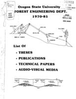 1970-85 list of theses, publications, technical papers, audio-visual media,...