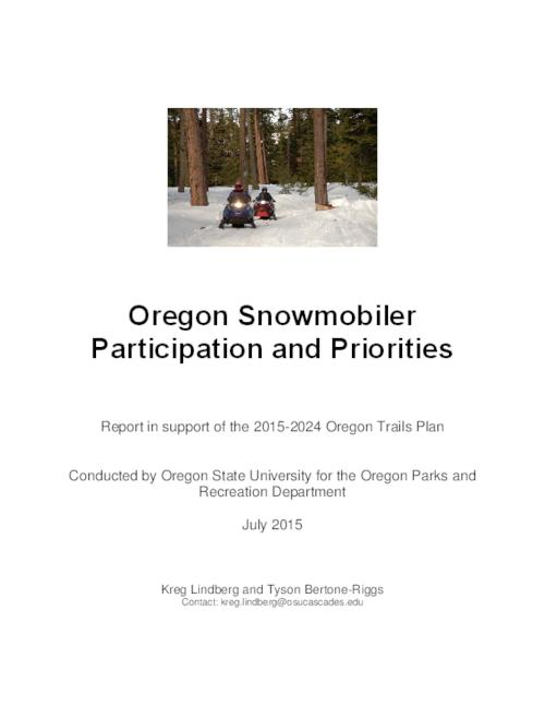 This archived document is maintained by the Oregon State Library as part of the Oregon Documents Depository Program.  It is for informational purposes and may not be suitable for legal purposes., Title from PDF cover (viewed on October 8, 2015)., Survey of snowmobiler trail users on current use patterns (amount, location, and type of use), user experiences and preferences, and the economic contribution of the recreation activity., Includes bibliographical references., Mode of access: Internet from the Oregon Government Publications Collection., Text in English.