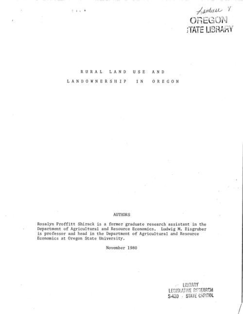 "This archived document is maintained by the Oregon State Library as part of the Oregon Documents Depository Program.  It is for informational purposes and may not be suitable for legal purposes., ""November 1980."", Includes bibliographical references, Mode of access: Internet from the Oregon Government Publications Collection."