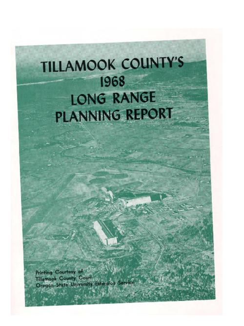 Report derived from the 1968 conference predicting the trends and development of Tillamook county resources. Similar conferences were held in 1936, 1938, 1941, 1946 and 1956. Conference committees focused on human resource development, agriculture, forestry, industrial development and transportation, water resources, and tourism and recreation., This archived document is maintained by the Oregon State Library as part of the Oregon Documents Depository Program.  It is for informational purposes and may not be suitable for legal purposes., Cover title; statement of responsibility from Forward [sic]., Mode of access: Internet from the Oregon Government Publications Collection.