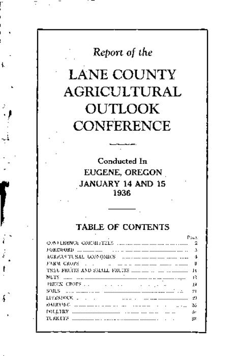 "This archived document is maintained by the Oregon State Library as part of the Oregon Documents Depository Program.  It is for informational purposes and may not be suitable for legal purposes., Caption title., ""Planned and conducted by the Lane County Agricultural Council cooperating with the Extension Service of the Oregon State Agricultural College.""--Page 3., Mode of access: Internet from the Oregon Government Publications Collection."