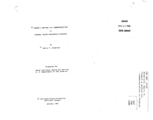 "This archived document is maintained by the Oregon State Library as part of the Oregon Documents Depository Program.  It is for informational purposes and may not be suitable for legal purposes., ""January 1981."", ""Prepared for Water and Power Resources Service, U.S. Department of the Interior."", Title from cover, Bibliography: p. 110-123, Mode of access: Internet from the Oregon Government Publications Collection."