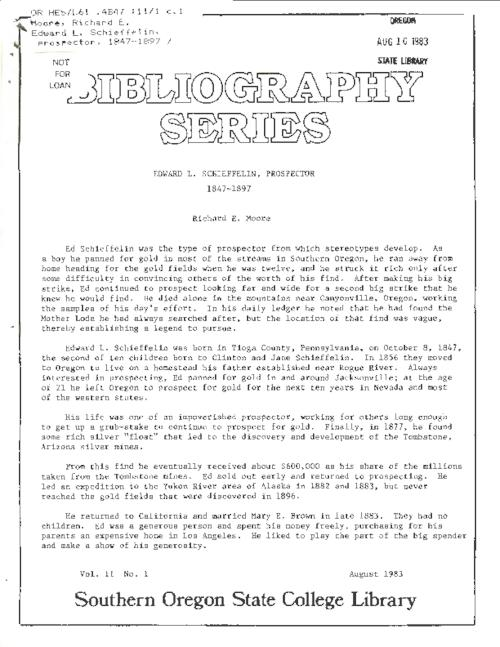 "This archived document is maintained by the Oregon State Library as part of the Oregon Documents Depository Program.  It is for informational purposes and may not be suitable for legal purposes., ""August 1983."", Mode of access: Internet from the Oregon Government Publications Collection."