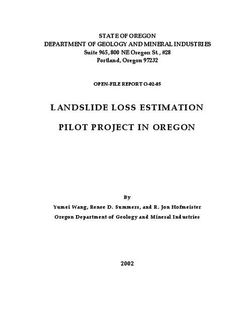 This archived document is maintained by the Oregon State Library as part of the Oregon Documents Depository Program.  It is for informational purposes and may not be suitable for legal purposes., Title from title frame, Paging in document: iii, 23, 22 p, Includes bibliographical references (p. 2l), Mode of access: Internet from the Oregon Government Publications Collection.