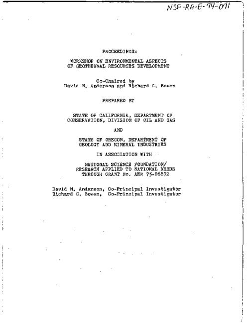 "This archived document is maintained by the Oregon State Library as part of the Oregon Documents Depository Program.  It is for informational purposes and may not be suitable for legal purposes., ""November 20-22, 1974."", Co-chaired by David N. Anderson and Richard G. Bowen, Mode of access: Internet from the Oregon Government Publications Collection."