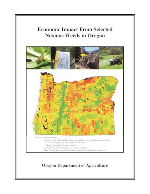 This archived document is maintained by the Oregon State Library as part of the Oregon Documents Depository Program.  It is for informational purposes and may not be suitable for legal purposes., Title from PDF title page (viewed on December 17, 2014), House Bill 2118 (1999) instructed the Oregon Department of Agriculture to develop a strategic plan to address the growing problem of invasive noxious weeds. As part of the legislative directive and the strategic planning process, the Oregon Department of Agriculture and Oregon State University through the Oregon Agriculture Research Foundation, implemented an economic study to assess the impacts of 21 of the 99 Oregon State listed noxious weeds. Appendix B includes detailed descriptions, pictures and range maps of a selection of noxious weeds in Oregon, Includes bibliographical references, Mode of access: Internet from the Oregon Government Publications Collection., Text in English