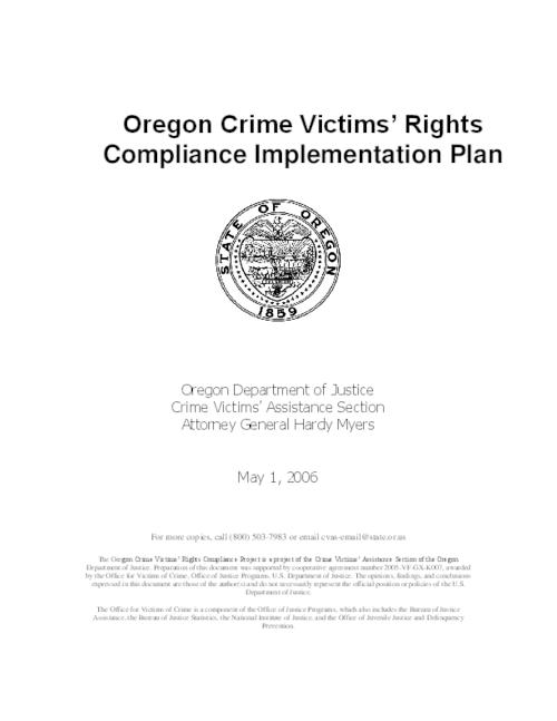 This archived document is maintained by the Oregon State Library as part of the Oregon Documents Depository Program.  It is for informational purposes and may not be suitable for legal purposes., Converted from Word, Mode of access: Internet from the Oregon Government Publications Collection.