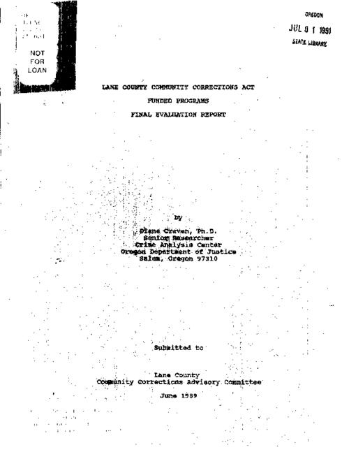 "This archived document is maintained by the Oregon State Library as part of the Oregon Documents Depository Program.  It is for informational purposes and may not be suitable for legal purposes., ""June 1989."", ""Submitted to Lane County Community Corrections Advisory Committee."", Title from cover, Includes bibliographical references (p. 131-134), Mode of access: Internet from the Oregon Government Publications Collection."