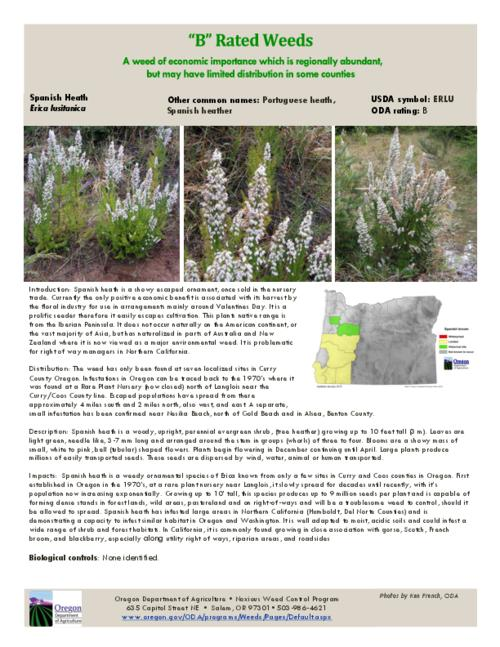 This archived document is maintained by the Oregon State Library as part of the Oregon Documents Depository Program.  It is for informational purposes and may not be suitable for legal purposes., Title from PDF caption (viewed on July 22, 2015)., Part of the series Oregon state noxious weed list., Mode of access: Internet from the Oregon Government Publications Collection., Text in English.