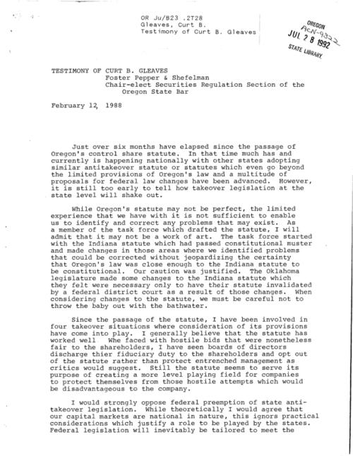 "About Oregon's control share statute, This archived document is maintained by the Oregon State Library as part of the Oregon Documents Depository Program.  It is for informational purposes and may not be suitable for legal purposes., ""February 12, 1988."", Title from caption, Mode of access: Internet from the Oregon Government Publications Collection."