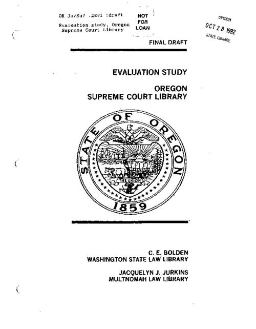 "This archived document is maintained by the Oregon State Library as part of the Oregon Documents Depository Program.  It is for informational purposes and may not be suitable for legal purposes., ""Consultants: ... Washington State Law Library, ... Multnomah Law Library."", ""Final draft""--Cover, ""January 1987."", Includes bibliographical references, Mode of access: Internet from the Oregon Government Publications Collection."