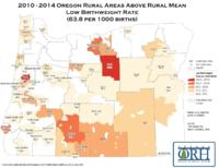 2010-2014 Oregon rural areas above rural mean low birthweight rate (63.8 per...