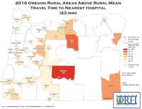 2016 Oregon rural areas above rural mean travel time to nearest hospital (23...