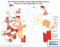 2015 Oregon rural areas below rural mean primary care visits met (77.2%), Oregon...