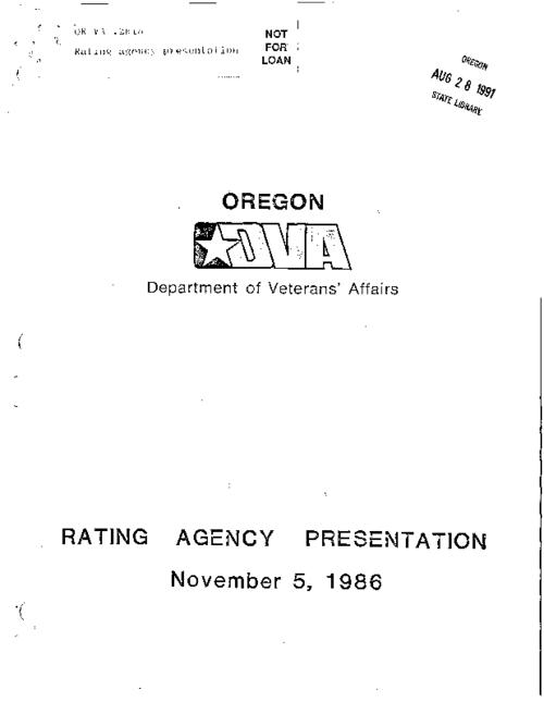 "This archived document is maintained by the Oregon State Library as part of the Oregon Documents Depository Program.  It is for informational purposes and may not be suitable for legal purposes., ""November 5, 1986."", Caption title: Department of Veterans' Affairs rating agencies presentation, Title from cover, Mode of access: Internet from the Oregon Government Publications Collection."