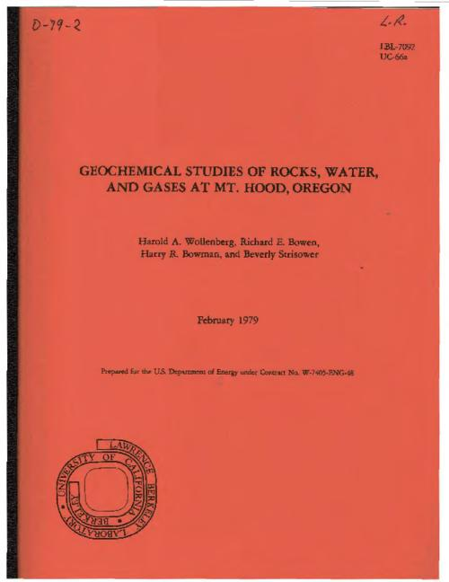 "This archived document is maintained by the Oregon State Library as part of the Oregon Documents Depository Program.  It is for informational purposes and may not be suitable for legal purposes., ""February 1979."", ""Prepared for the U.S. Dept. of Energy under contract no. W-7405- ENG-48.""--Cover, Second author of four, Richard E. Bowen, is a consultant to State of Oregon, Department of Geology and Mineral Industries, LBL ; 7092, Bibliography: p. 56-57, Mode of access: Internet from the Oregon Government Publications Collection."