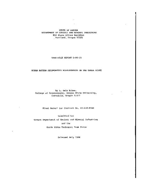 "This archived document is maintained by the Oregon State Library as part of the Oregon Documents Depository Program.  It is for informational purposes and may not be suitable for legal purposes., ""Final report for contract no. 63-630-8510."", ""Released July 1986."", Bibliography: p. 25, Mode of access: Internet from the Oregon Government Publications Collection."