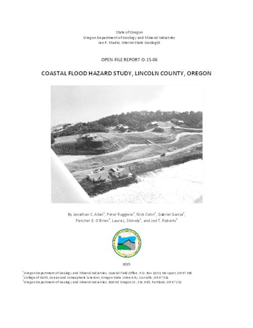 This archived document is maintained by the Oregon State Library as part of the Oregon Documents Depository Program.  It is for informational purposes and may not be suitable for legal purposes., Title from PDF cover (viewed on August 3, 2015)., DOGAMI has been contracted to perform detailed coastal flood hazard studies for the entire length of the Lincoln County shoreline of the Pacific Ocean. These analyses are to include assessments of the 1% annual probability, or 100-year, extreme storm wave event and the associated calculated wave setup, runup, and total water to help guide the determination of Special Flood Hazard Areas. Additional modeling of the 0.2%, or 500-year, event will also be undertaken., Includes bibliographical references (pages 176-180)., Mode of access: Internet from the Oregon Government Publications Collection., Text in English.
