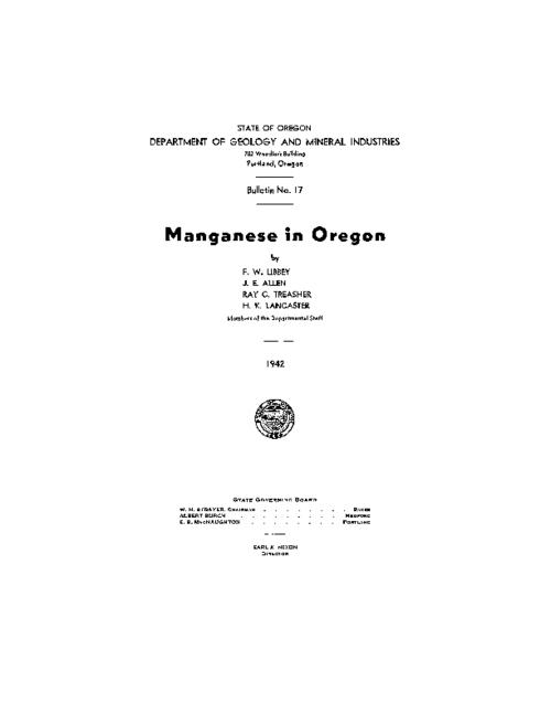 This archived document is maintained by the Oregon State Library as part of the Oregon Documents Depository Program.  It is for informational purposes and may not be suitable for legal purposes., At head of title: State of Oregon.  Dept. of Geology and Mineral Industries, Includes index, Reproduced from type-written copy, Bibliography: p. 73-74, Mode of access: Internet from the Oregon Government Publications Collection.