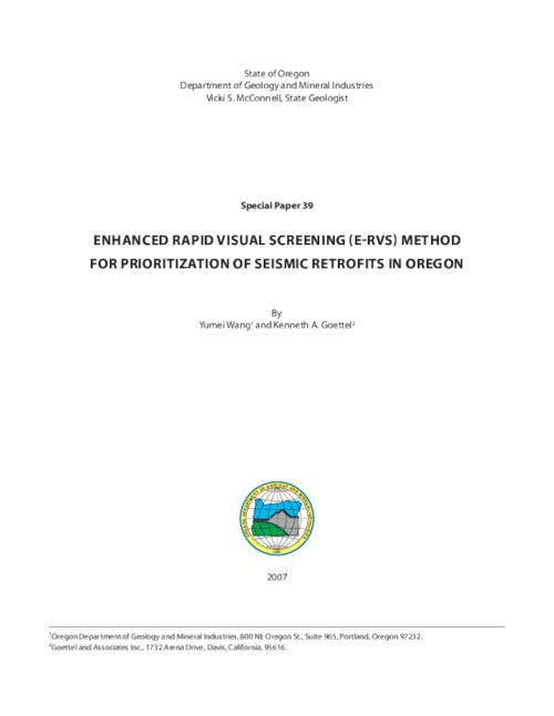 This report reviews the technical underpinnings of the RVS procedure, with emphasis on the mathematical relationships between RVS scores and the probabilities of building collapse, use of several types of seismic hazard data, and suggestions for using RVS final scores for initial prioritization of seismic retrofits for a large population of public educational buildings in Oregon, Report -- Catalog of Dept. Publications (May 2007) -- Readme file -- Strategic Plan, 2003-2009, This archived document is maintained by the Oregon State Library as part of the Oregon Documents Depository Program.  It is for informational purposes and may not be suitable for legal purposes., Title from title screen of PDF report, OrDocs shipping list 2007-33, Includes bibliographical references, Mode of access: Internet from the Oregon Government Publications Collection.
