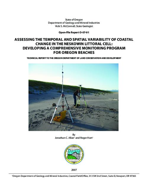 "This report describes the procedures used to establish a comprehensive beach and shoreline observation system in Neskowin littoral cell, located on the northern Oregon coast, Report. -- Catalog of Dept. Publications (May 2007) -- Strategic Plan, 2003-2009. -- Readme file, This archived document is maintained by the Oregon State Library as part of the Oregon Documents Depository Program.  It is for informational purposes and may not be suitable for legal purposes., Title from disc label, ""Technical report to the Oregon Department of Land Conservation and Development."", OrDocs shipping list 2007-29, Includes bibliographical references (p. 18), Mode of access: Internet from the Oregon Government Publications Collection."