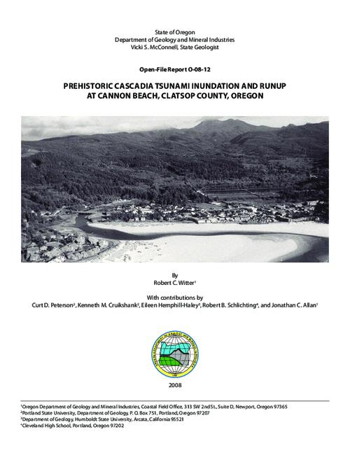 This archived document is maintained by the Oregon State Library as part of the Oregon Documents Depository Program.  It is for informational purposes and may not be suitable for legal purposes., Title from cover, Includes bibliographical references (p. 34-36), Support provided by the Cannon Beach Rural Fire Protection District, the City of Cannon Beach, and the Clatsop County School District, intergovernmental agreement no. 41180-63006, Additional funding provided by the National Tsunami Hazard Mitigation Program, NOAA requisition NRMAH000-01035, Mode of access: Internet from the Oregon Government Publications Collection.