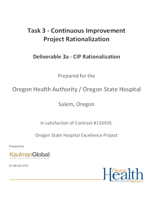 "This archived document is maintained by the Oregon State Library as part of the Oregon Documents Depository Program.  It is for informational purposes and may not be suitable for legal purposes., Title from PDF caption (viewed on Feb. 15, 2011), ""14 January 2011."", ""In satisfaction of contract #133459, Oregon State Hospital Excellence Project."", Mode of access: Internet from the Oregon Government Publications Collection."