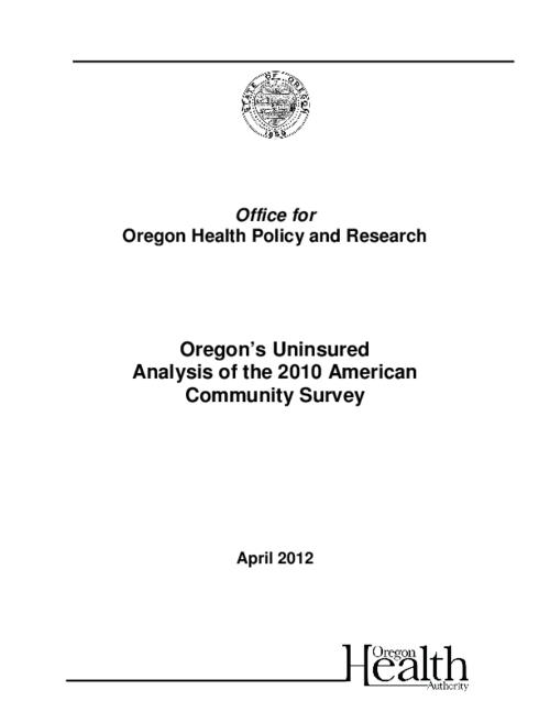 "This archived document is maintained by the Oregon State Library as part of the Oregon Documents Depository Program.  It is for informational purposes and may not be suitable for legal purposes., Title from PDF caption (viewed on May 22, 2012), ""April 2012""--Cover, Includes bibliographical references, Mode of access: Internet from the Oregon Government Publications Collection."