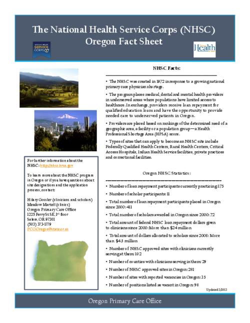 "This archived document is maintained by the Oregon State Library as part of the Oregon Documents Depository Program.  It is for informational purposes and may not be suitable for legal purposes., Title from PDF caption (viewed on June 5, 2013), ""Updated 3/2013."", Mode of access: Internet from the Oregon Government Publications Collection."