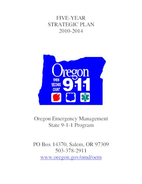 This archived document is maintained by the Oregon State Library as part of the Oregon Documents Depository Program.  It is for informational purposes and may not be suitable for legal purposes., Title from PDF title page (viewed on April 12, 2016)., Appendix includes a list of Public Safety Answering Points by county and secondary PSAPs., Mode of access: Internet from the Oregon Government Publications Collection., Text in English.