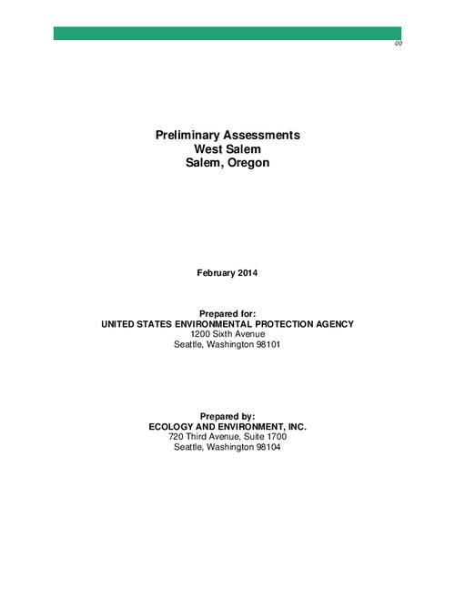This archived document is maintained by the Oregon State Library as part of the Oregon Documents Depository Program.  It is for informational purposes and may not be suitable for legal purposes., Title from PDF cover (viewed on March 24, 2014), Includes bibliographical references, Issued under EPA, Region 10, Superfund Technical Assessment and Response Team (START) and EPA, Region 10, START-IV 13-04-0002 EP-S7-06-02 13-09-0016 EP-S7-13-07, Mode of access: Internet from the Oregon Government Publications Collection., Text in English