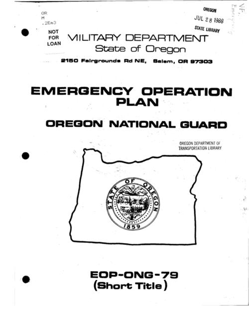 "This archived document is maintained by the Oregon State Library as part of the Oregon Documents Depository Program.  It is for informational purposes and may not be suitable for legal purposes., ""1 February 1979"" -- Cover letter, ""EOP-ONG-79 (Short Title)."", Title from cover, Mode of access: Internet from the Oregon Government Publications Collection."