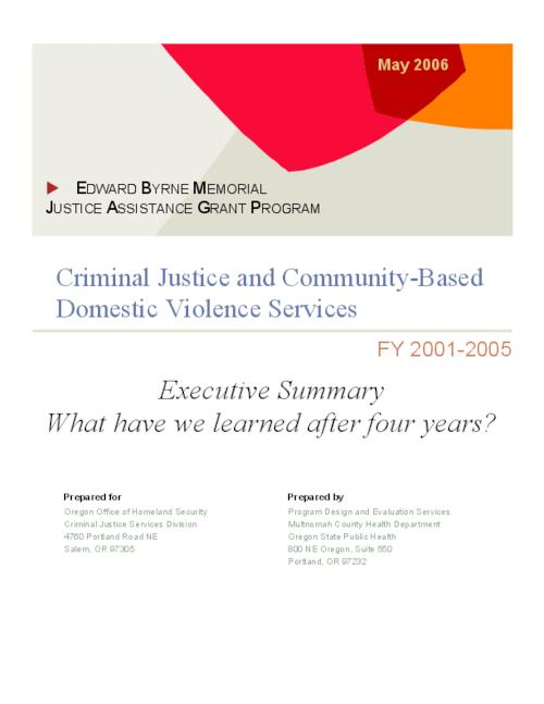 "This archived document is maintained by the Oregon State Library as part of the Oregon Documents Depository Program.  It is for informational purposes and may not be suitable for legal purposes., Title from PDF cover (viewed on Sept. 13, 2006), ""Prepared for Oregon Office of Homeland Security, Criminal Justice Services Division ..."", ""May 2006."", Mode of access: Internet from the Oregon Government Publications Collection."