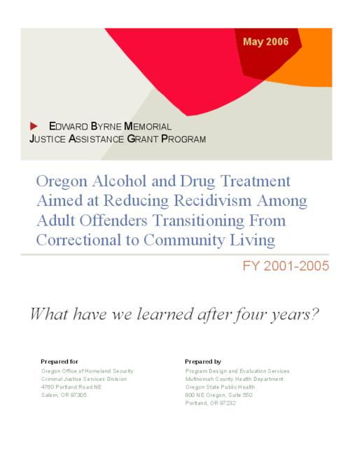 "This archived document is maintained by the Oregon State Library as part of the Oregon Documents Depository Program.  It is for informational purposes and may not be suitable for legal purposes., Title from PDF cover (viewed on Sept. 7, 2006), ""Prepared for Oregon Office of Homeland Security, Criminal Justice Services Division ..."", ""Edward Byrne Memorial Justice Assistance Grant Program."", ""May 2006."", Includes bibliographical references (p. 17), Mode of access: Internet from the Oregon Government Publications Collection."