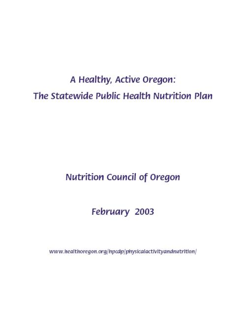 "This archived document is maintained by the Oregon State Library as part of the Oregon Documents Depository Program.  It is for informational purposes and may not be suitable for legal purposes., ""February 2003."", Funded and distributed by Health Promotion and Chronic Disease Prevention Program, OrDocs shipping list 2005-06, Includes bibliographical references (p. 38-39), Mode of access: Internet from the Oregon Government Publications Collection."