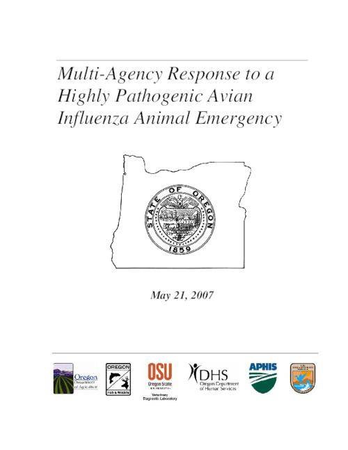 "This archived document is maintained by the Oregon State Library as part of the Oregon Documents Depository Program.  It is for informational purposes and may not be suitable for legal purposes., Title from PDF cover (viewed on Dec. 29, 2008), ""May 21, 2007."", ""This plan was developed cooperatively by the Oregon Department of Agriculture, the Oregon Department of Fish and Wildlife, the Oregon State University Veterinary Diagnostic Laboratory, the Oregon Public Health Division, the U.S. Department of Agriculture, Wildlife Services and Veterinary Services, and the U.S. Fish and Wildlife Service""--P. [2], Mode of access: Internet from the Oregon Government Publications Collection."