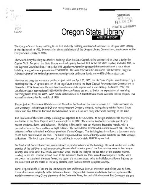 "This archived document is maintained by the Oregon State Library as part of the Oregon Documents Depository Program.  It is for informational purposes and may not be suitable for legal purposes., ""February 1, 2001""--Leaf [3], Title from caption, Mode of access: Internet from the Oregon Government Publications Collection."